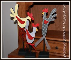 Painted wood roosters... #wood #paint #scrapbookpaper #crafts #kitchen #roosters #greeneyedgirlcrafts
