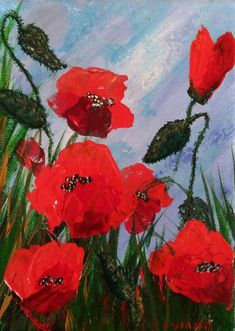 Waiting for rain, Red poppy flower painting with a palette knife