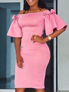 Off Shoulder Ruffles Design Bodycon Dress - African Fashion Dresses Short African Dresses, Latest African Fashion Dresses, Short Gowns, African Print Fashion, Africa Fashion, Trend Fashion, Fashion Outfits, Fashion Ideas, Fashion Top