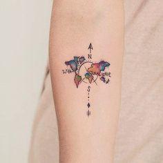 Minimalist Colourful World Travel Tattoo