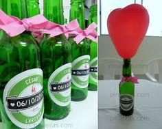 decoração com garrafas de cerveja heineken flores - Pesquisa Google