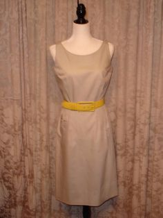 Flawless! #Vintage 60s Hong Kong Cotton blend Day Dress sz 6 8 Pacific Classic & #Guylaroche lemon yellow calfskin belt
