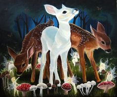 Faery Portal - three fawns surrounded by a fairy ring on a midsummers night