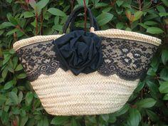 capazo exclusivo de blonda negra con flor