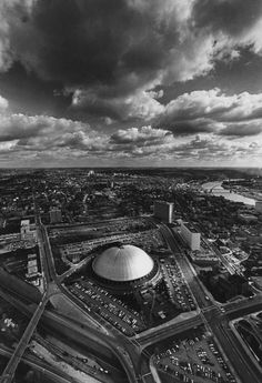 1972: View of Pittsburgh and the Hill District neighborhood, including the Civic Arena