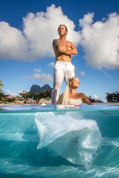 Trash the wedding dress in Bora Bora