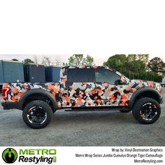 Metro Cumulus Orange Tiger camo is exclusively available at Metro Restyling. Metro Cumulus Orange Tiger camouflage car wrap by Vinyl Destination Graphics. Camo Paint, How To Paint Camo, French Armed Forces, Vinyl Wrap Car, Country Trucks, Organic Structure, We The Best, Car Wrap, Jeeps