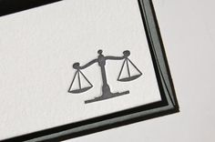 Lawyer Scales of Justice Legal Letterpress Notecards (Set of 8). $17.00, via Etsy.