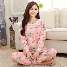 Moda Mujeres Ropa de noche Floral Flor Conjuntos de Pijamas de Manga Larga Pijamas de Las Mujeres ropa de Dormir Lindo Pijama Pantalones Largos Salón Del Camisón
