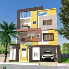 2 BHK, small double storied home 1200 sq-ft House Outer Design, House Outside Design, House Front Design, 2bhk House Plan, Duplex House Plans, Modern House Plans, 3 Storey House Design, Bungalow House Design, Modern Exterior House Designs