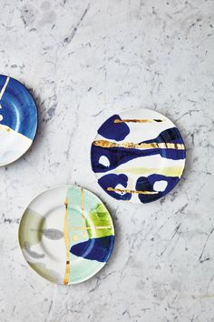 Gold Accent Dessert Plate and more Anthropologie (ad) Design, Ceramic Sculpture, Pottery, Creative, Hand Painted, Ceramics, Painting, Ceramic Design, China Painting