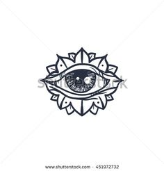 Vintage All Seeing Eye in Mandala. Providence magic symbol for print, tattoo…