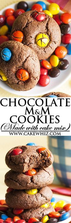 Easy CAKE MIX CHOCOLATE M&M COOKIES made with simple ingredients from your pantry. No chilling required! Crispy on the outside but soft on the inside. Great homemade gift for the Holiday season/ Christmas time! From cakewhiz.com