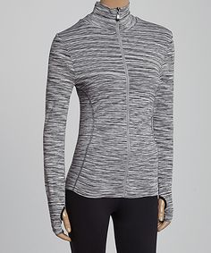 Gray Variegated Track Jacket - Women by Arise