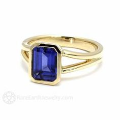 Rare Earth Jewelry Emerald Cut Blue Sapphire Solitaire Ring September Birthstone or Anniversary