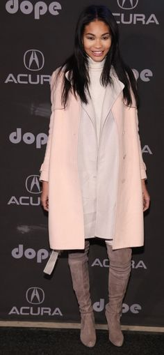 Model Chanel Iman wears a Ferragamo coat to the 'Dope' afterparty in Park City, Utah for the Sundance Film Festival.