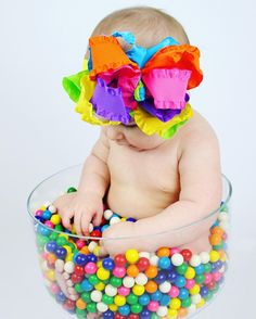 Rainbow baby, newborn photography, baby, picture ideas, baby girl, bubble gum picture, cute baby, hair bow, photography, kids photography