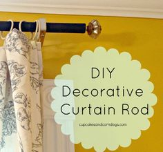 DIY rod from conduit, spray paint, and drawer knob finials