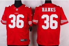 Men's San Francisco 49ers #36 Merton Hanks Scarlet Red Retired Player NFL Nike…
