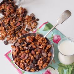 Chocolate chip cherry granola - golden oaty bites with added almonds and raisins.