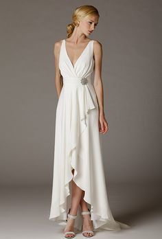 Brides: Aria. V-neck criss-cross silk crepe dress with hi/low wrap skirt. Made in USA.