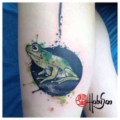 Frosch in Watercolour! Danke, liebe Julia! #tattoo #habusan #Wien #watercolourtattoo #frosch