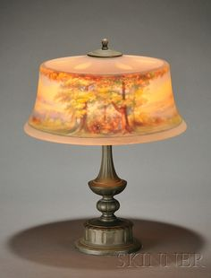 Pairpoint Reverse Painted Table Lamp   Reverse painted glass and patinated metal   New Bedford, Massachusetts, c. 1925
