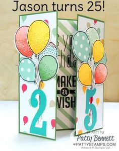 Personalized birthday card featuring Stampin' UP! Large Number framelits an… Personalized birthday card featuring Stampin' UP! Large Number framelits and balloon celebration balloon stamps and matching punch, Gate Fold Card by Patty Bennett Bday Cards, Kids Birthday Cards, Handmade Birthday Cards, Birthday Sayings, Birthday Frames, Birthday Numbers, Fun Fold Cards, Folded Cards, Cards Diy