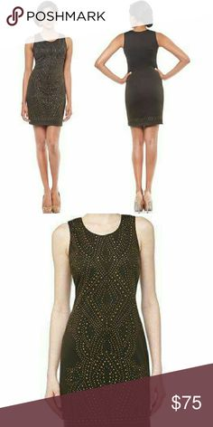 NWT Nicole Miller Studded Sheath Fatigue Dress NWT. Nicole Miller harmony heat press on ponte. Design style is Fatigue. Smoke free home. 67% rayon 30% polyester, 8% spandex. Fits like a glove. Stretch material. Nicole Miller Dresses