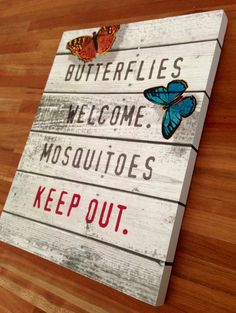 Wooden Welcome Butterflies Sign - pinned by pin4etsy.com
