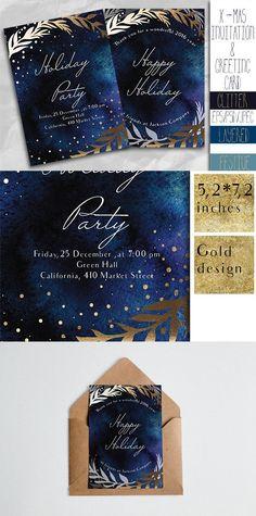 X-mas invitation and greeting card. Invitation Templates. $10.00