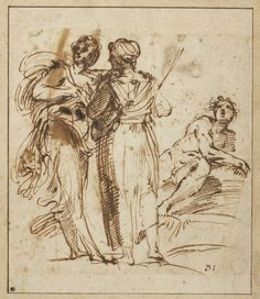 Annibale Carracci (Italian, 1560 -1609) Two Standing Women and a Reclining Male Nude, ca. 1596–97; Pen and iron gall ink over traces of red chalk on beige laid paper Fowler McCormick