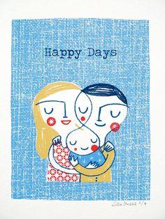Happy Days original screen print by Lisa Stubbs