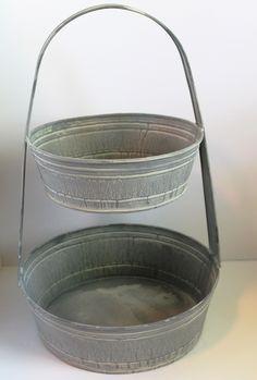 Rustic French Farmhouse 2 Tier Garden Fruit Basket Kitchen Bath Handled Storage Tote