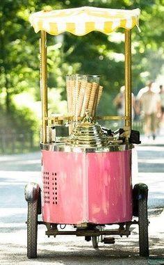 Pink ice cream cart