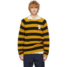 Gucci Black and Yellow Striped Embroidered Pig Sweater # Buy Affordable And Fashionable Women's clothing Online. Buy Shoes, Bags, Dresses Etc Gucci Gucci, Gucci Black, Yellow Stripes, Black N Yellow, Cable Knit Jumper, Cotton Jumper, Black Down, Satin Jackets, Sweater Shop