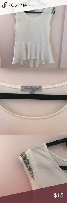 Charlotte Russe Embellished Peplum Top Charlotte Russe Embellished Peplum Top. Great condition! Charlotte Russe Tops