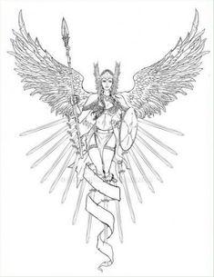 Tattoo ideas female color colour 44 ideas #tattoo Norse Tattoo, Viking Tattoos, Angel Warrior, Warrior Queen, Mythology Tattoos, Angel Drawing, Geniale Tattoos, Viking Art, Desenho Tattoo