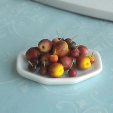 Platter of Hand Made Fruit Plums Nectarines & Cherries Dollhouse Miniature Food