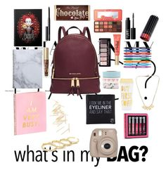 """In my bag?"" by eliyanakubelis on Polyvore featuring Michael Kors, NARS Cosmetics, Too Faced Cosmetics, Paper Mate, ban.do, Eyeko, Beauty Rush, Fujifilm and Fallon"