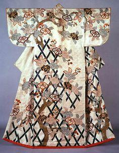矢来椿樹模様小袖