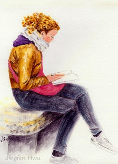 beautiful woman painting, a reading girl in Milan, wall art print to decorate your home