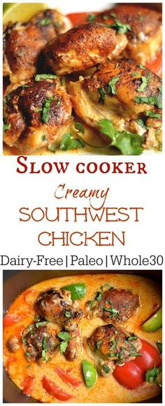Slow Cooker Creamy Southwest Chicken (Paleo, – Wholesomelicious Super easy and packed with flavor this weeknight dinner is one the whole family will love! Set it and forget it with your slow cooker! Clean Eating Recipes, Cooking Recipes, Cooking Bacon, Cooking Games, Cooking Broccoli, Clean Eating Chicken, Cooking Oil, Whole Food Recipes, Healthy Recipes
