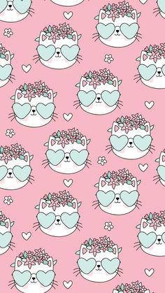 Cat Pattern Wallpaper, Cat Wallpaper, Kawaii Wallpaper, Cute Wallpaper Backgrounds, Animal Wallpaper, Pretty Wallpapers, Screen Wallpaper, Phone Backgrounds, Iphone Wallpaper