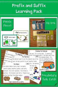 Task cards, puzzle pieces, flip books, and posters to help students practice prefixes and suffixes. Great for ELL learners.