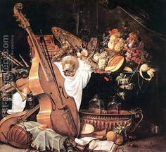 Vanitas Still-Life with Musical Instruments, 1661 by Cornelis De Heem