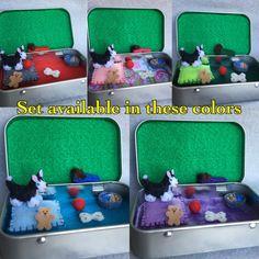 Miniature husky dog in a tin play set- Itty Bitty Maties, pocket dog
