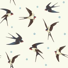 Barn Swallows Removable Wallpaper