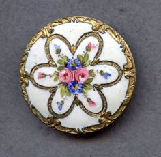 Antique Hand Painted Enamel Button w/Metal Border; Circa 1800's