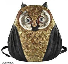 Black - Owl Pattern Backpack Handbag